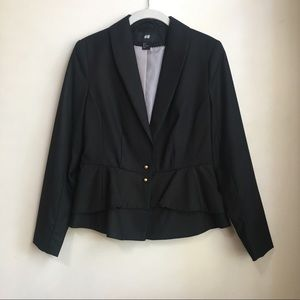 H&M Black Peplum Blazer with Gold Buttons
